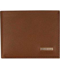 billetera de cuero unicolor con textura para hombre 03628