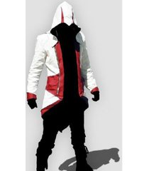 custom handmade mens assassin's (c kenway) creed 3 red/white jacket, men fashion