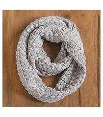 100% alpaca infinity scarf, 'feminine texture in smoke' (peru)