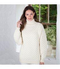 women's irish aran turtleneck sweater cream xl
