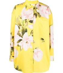 valentino floral print shirt mini dress