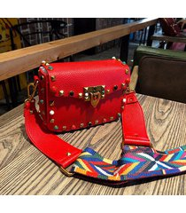 luxury guitar rockstud colorful rivet leather designer cross body messenger bags