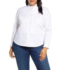 plus size women's court & rowe ruffle placket poplin shirt