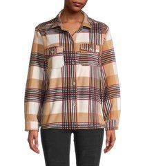 c & c california women's plaid long-sleeve shirt - tan multicolor - size s
