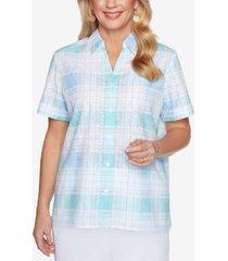 alfred dunner petite classics plaid burnout shirt