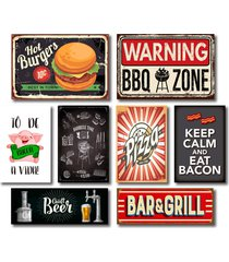 kit placas decorativas cozinha churrasco mdf- 8 placas