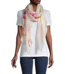 la fiorentina women's flower-printed wool scarf - ivory coral
