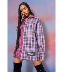oversized gewatteerde contrasterend geruite blouse, pink