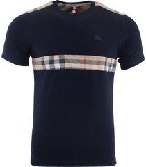 burberry brit men's patch nova check short sleeve t-shirt blue size s, m, l, xl