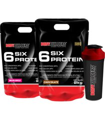 kit 2x 6 six protein 2kg (1 chocolate + 1 morango) + coqueteleira – bodybuilders