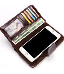 vera pelle 6 pollici portafoglio retrò con 8 carte portafoglio casual wax olio telefono borsa per uomo