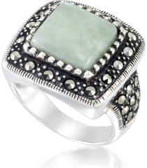 jade (11 x 11mm) & marcasite square ring in sterling silver
