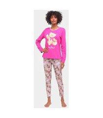 pijama longo three hands manga longa nany bear feminino