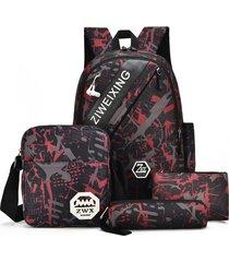 mochila/ camuflaje para adolescentes bolsas de hombro-rojo