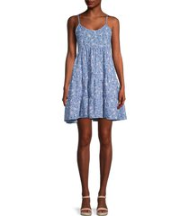 love ady women's floral tiered dress - blue - size xs