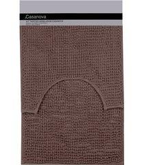 jogo de tapetes para banheiro popcorn 40x60cm marrom
