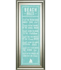 "classy art beach rules by the vintage - like collection framed print wall art - 18"" x 42"""