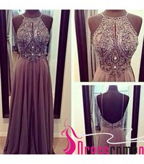 2015 new arrival a-line with beaded bodice open back long chiffon prom dresses