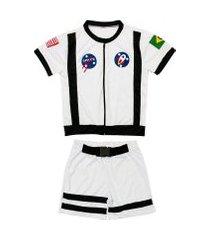 fantasia astronauta shorts e camiseta douvelin branco
