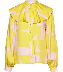slfcilli ls frill collar shirt b blouse lange mouwen groen selected femme