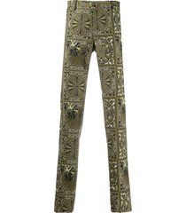 etro bandana print tailored trousers - green