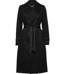 coats woven trenchcoat lange jas zwart esprit collection