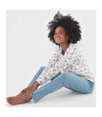 pijama pzama floral off-white/azul