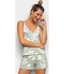pijama cor com amor shorts doll alças floral feminino - feminino