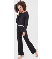 pijama hering canelado renda preto