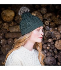 green women's bobble hat