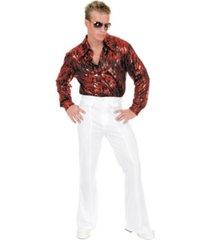 buyseasons men's flame hologram red disco shirt
