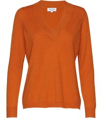v-neck over d sweater gebreide trui oranje davida cashmere