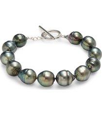 belpearl women's sterling silver & 10-11mm black tahitian pearl bracelet