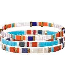 eye candy la women's luxe emma 3-piece goldtone & enamel stretch bracelet set
