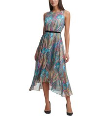 tommy hilfiger printed belted maxi dress