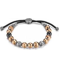 'classic chain' multi bead silver cord bracelet