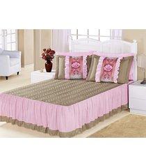 kit colcha (colcha + porta travesseiro) casal bia caqui com rosa liso com 5 peças - aquarela - tricae