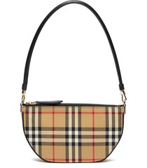 'olympia' check print cotton pouch leather handle bag