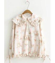 camicette con risvolto a pieghe con stampa floreale vintage per le donne