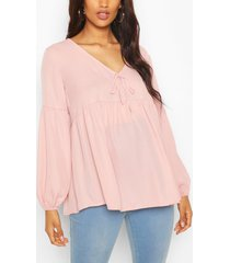 maternity drape sleeve woven smock top, pale pink