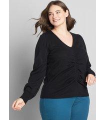 lane bryant women's v-neck ruched sweater 14/16 black