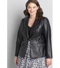 lane bryant women's faux-leather double-breasted blazer 16 black