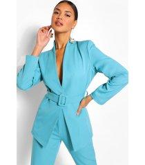 collarless belted blazer, bright blue