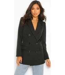 tailored long line double breasted blazer, black