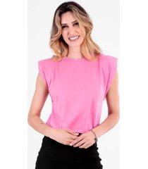 t-shirt bl0001 muscle tee com ombreira traymon rosa - rosa - feminino - dafiti