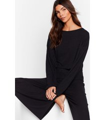 womens keep your cool ribbed top and pants set - black