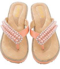 sandalias antideslizantes con clip de cuentas de diamantes de moda para mujer-rosa