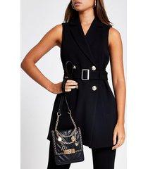 river island womens black belted sleeveless blazer