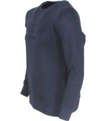 ballin est. 2013 heren sweater met 3d reliëf opdruk navy