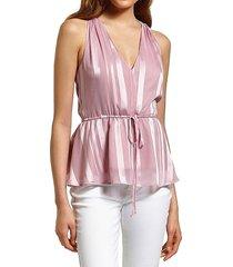 sam edelman women's striped drawstring peplum top - pink - size l